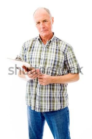 Altos hombre gritando frustración aislado blanco Foto stock © bmonteny