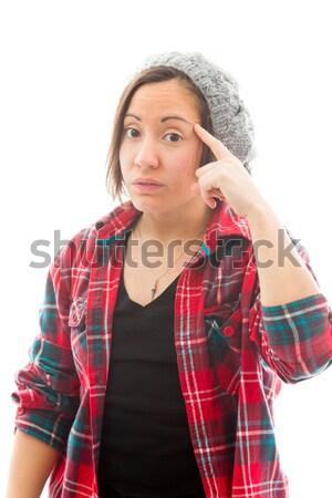 Fiatal nő szenvedés fejfájás fiatal felnőtt kaukázusi nő Stock fotó © bmonteny