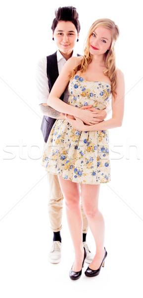 Leszbikus pár átkarol portré cipő románc Stock fotó © bmonteny