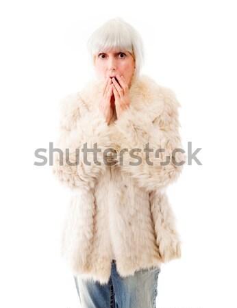 Senior donna mano bocca shock ritratto Foto d'archivio © bmonteny