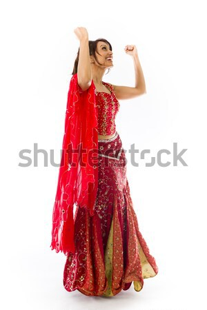 Young Indian woman shooting herself in head Stock photo © bmonteny