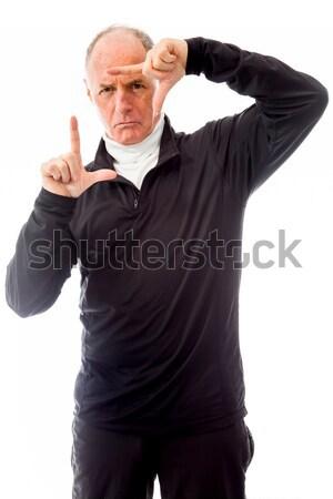Idős férfi lövöldözés fej kommunikáció öngyilkosság Stock fotó © bmonteny