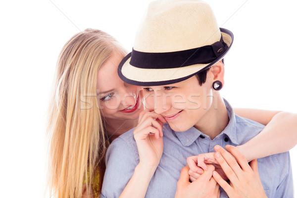 Lesbiennes couple souriant Romance amitié Photo stock © bmonteny