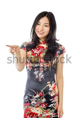Asia senalando algo mujer comunicación Foto stock © bmonteny