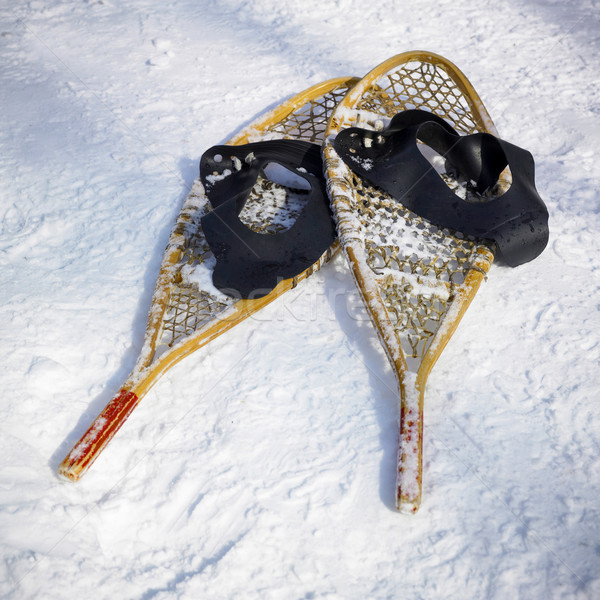 Snowshoes in snow, Orangeville, Dufferin County, Ontario, Canada Stock photo © bmonteny