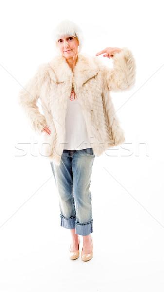 Senior mulher algo comunicação branco Foto stock © bmonteny