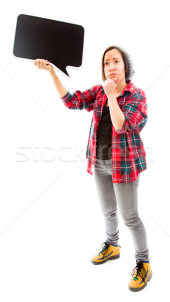 Fiatal nő gondolkodik tart szövegbuborék fiatal felnőtt kaukázusi Stock fotó © bmonteny