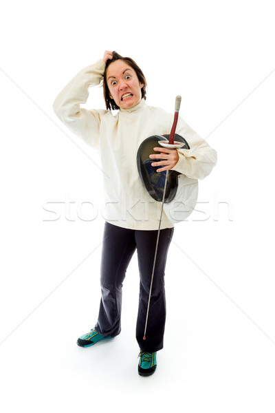Frustrated Female fencer pulling her hair Stock photo © bmonteny