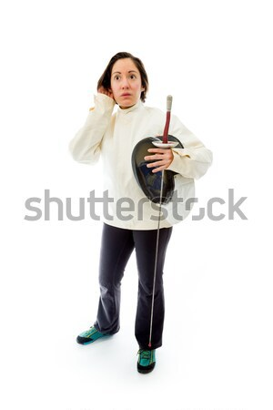 Young woman showing punching the air Stock photo © bmonteny