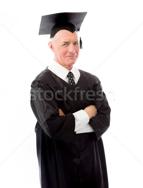 Senior maschio laurea piedi braccia incrociate uomo Foto d'archivio © bmonteny