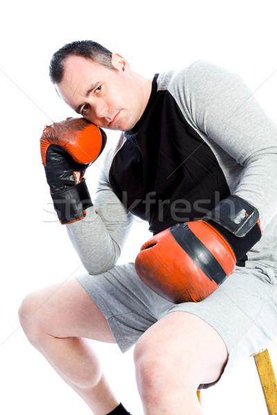 Caucasiano boxeador 40 anos velho isolado branco Foto stock © bmonteny