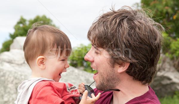 человека играет сын пляж семьи ребенка Сток-фото © bmonteny