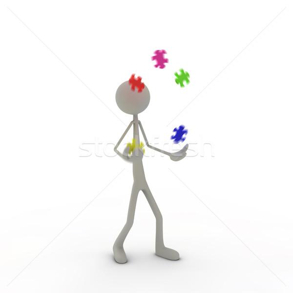Stok fotoğraf: Anlamaya · hokkabazlık · puzzle · parçaları · adam · soyut · uçmak