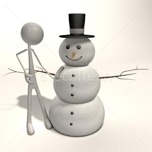 Pupazzo di neve figura piedi sostegno umani freddo Foto d'archivio © bmwa_xiller