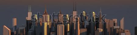 Skyline grande costruzione tramonto strada modello Foto d'archivio © bmwa_xiller