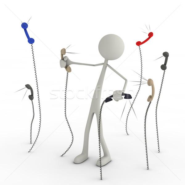 Telefono caos figura lotta ufficio Foto d'archivio © bmwa_xiller