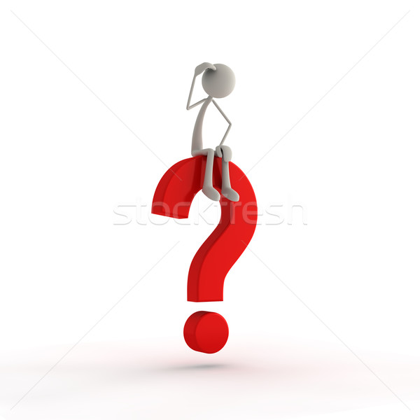 figure sitting on a question mark Stock photo © bmwa_xiller