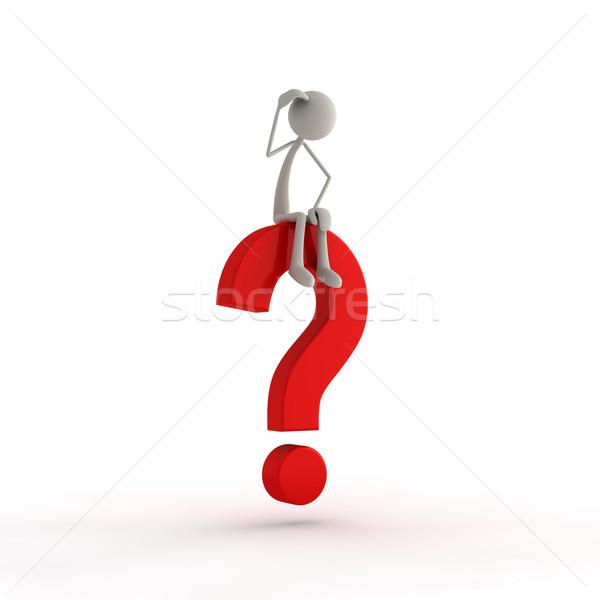 Figura seduta punto di domanda rosso business sfondo Foto d'archivio © bmwa_xiller