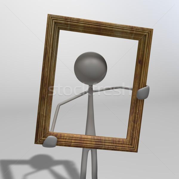 Stok fotoğraf: Anlamaya · resim · çerçevesi · eller · ahşap · çerçeve · boyama