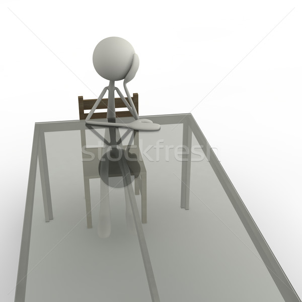 Sıkılmış tablo anlamaya oturma el cam Stok fotoğraf © bmwa_xiller
