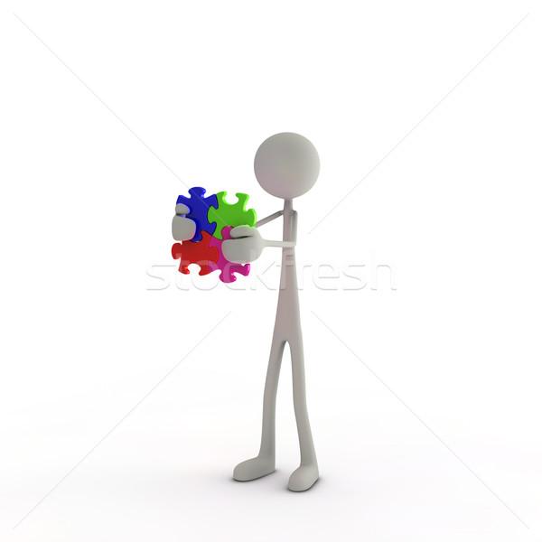 Figura puzzle pezzo mani abstract Foto d'archivio © bmwa_xiller