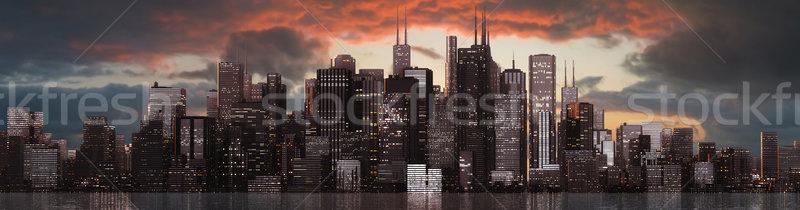 Ufuk çizgisi büyük gökyüzü inşaat gün batımı sokak Stok fotoğraf © bmwa_xiller
