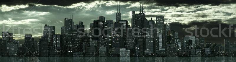 Ufuk çizgisi büyük inşaat gün batımı sokak model Stok fotoğraf © bmwa_xiller