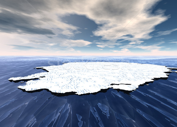 Broken Ice Sheet Floating in Open Ocean Stock photo © bobbigmac