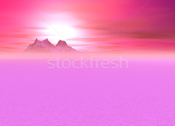 Romantic Pink Sunsetting over a distant Mountain Stock photo © bobbigmac
