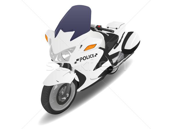 Police moto moteur vélo illustration blanche Photo stock © bobbigmac