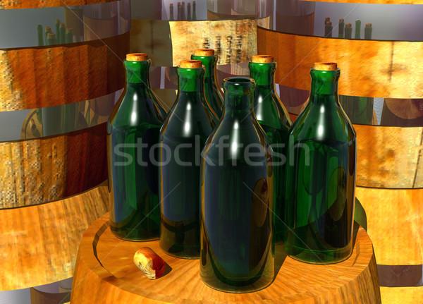 бутылок вино открытых бутылку стекла зеленый Сток-фото © bobbigmac
