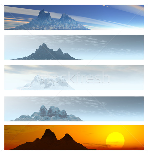 Five Distant Mountain Landscape Banners Stock photo © bobbigmac