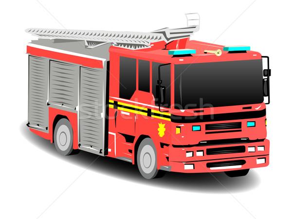 Rot Notdienste Feuerwehrauto Feuerwehrauto Notfall weiß Stock foto © bobbigmac