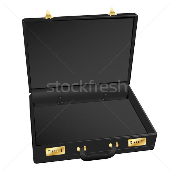 Abierto negro cuero maletín blanco ilustración Foto stock © bobbigmac