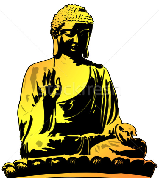 Golden Buddha Sitting Illustration Stock photo © bobbigmac