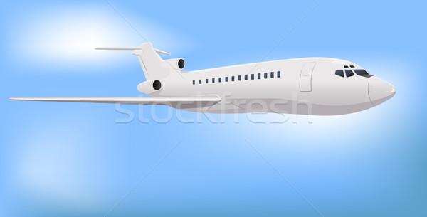 Private Commercial Jet Flying over Sky Stock photo © bobbigmac