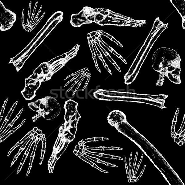Płytka wzór szkielet części ciała biały Zdjęcia stock © bobbigmac