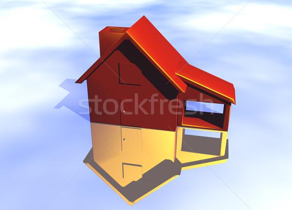 Rouge maison modèle danger risque réflexion Photo stock © bobbigmac