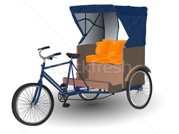 Asian Rickshaw Pulled by Bicycle Illustration Stock photo © bobbigmac