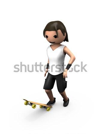 молодые белый 3D мужчины Постоянный скейтборде Сток-фото © bobbigmac