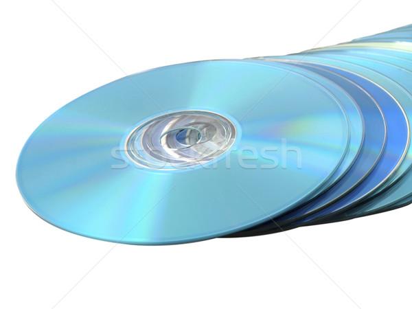 Cds données blanche bleu fichiers Photo stock © bobbigmac
