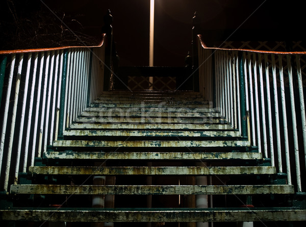 Dirty Stairway Steps at Night Stock photo © bobbigmac
