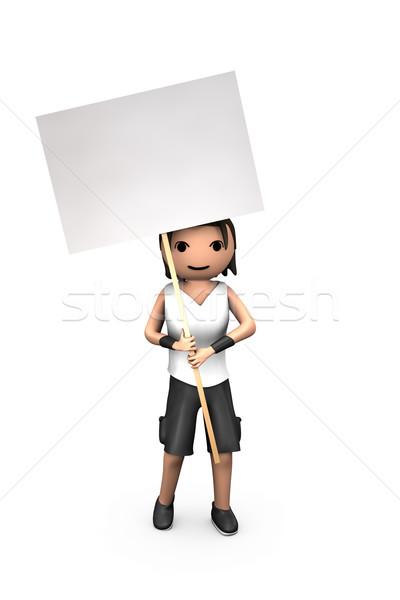 Fiatal fehér 3D fickó tart tiltakozás Stock fotó © bobbigmac