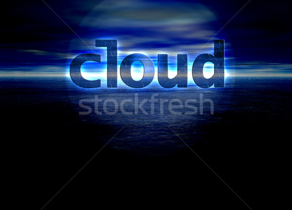 Cloud Text Internet Concept on Blue Skyscape Stock photo © bobbigmac