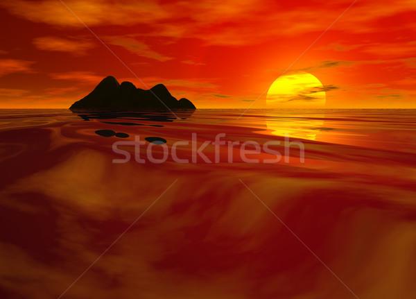 ярко красный закат морской пейзаж китайский цвета Сток-фото © bobbigmac