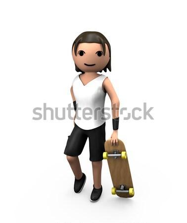 молодые белый 3D мужчины скейтборде Сток-фото © bobbigmac