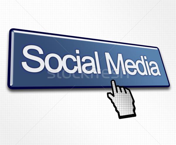 Large Blue Social Media Button Stock photo © bobbigmac