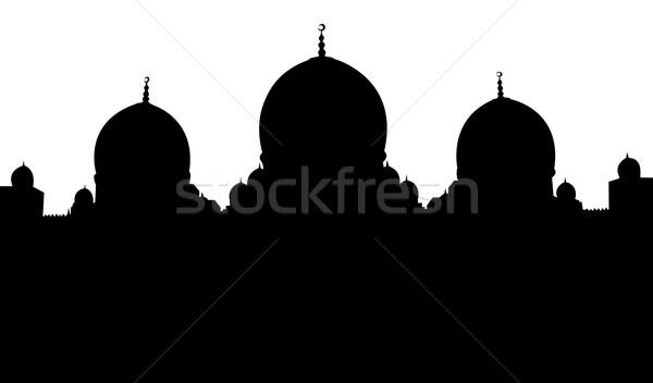 мечети силуэта иллюстрация белый строительство фон Сток-фото © bobbigmac