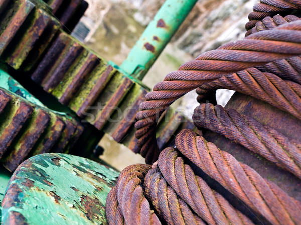 Steel Rope Wire and Cogs industrial Stock photo © bobbigmac