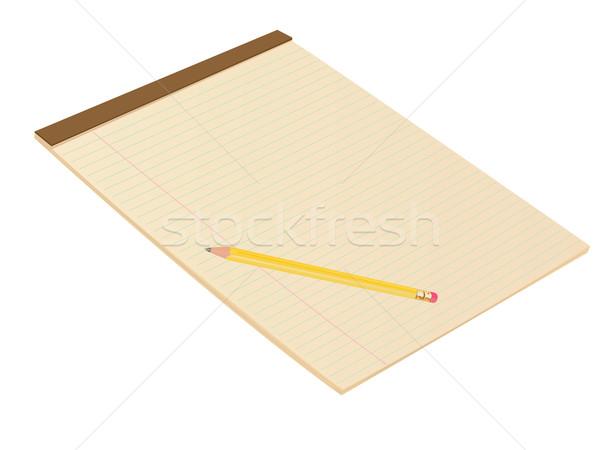 Brun notepad crayon illustration texture école Photo stock © bobbigmac